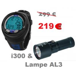 Pack i300 AQUALUNG + lampe AL3 BEUCHAT