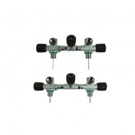 Robinet 2 sorties 300 bars DIN avec robinet d'isolement OMS Bts