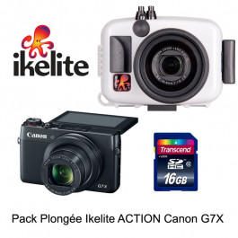 Pack caisson Ikelite Action + Appareil Canon G7X+Carte SD16 GO Cl. 10- Photo Tek