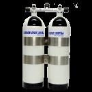 Bi-Bouteille CARBONDIVE 12 Litres 300 Bar avec cerclage et robinet isolement central OMS