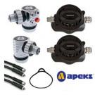 Pack détendeur complet TEK 3 APEKS (1er étage gauche + 1er étage droit + deux  2eme étage XTX50 + Flexible 2m et 1m + Tour de cou)