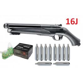 Pack Fusil Défense 16J T4E HDS Cal.68  + 100 Billes Poudre + 10 cartouches CO2
