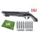 Pack Fusil Défense 16J T4E HDS Cal.68  + 500 Billes Poudre + 10 cartouches CO2