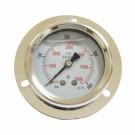 Manomètre axial 0-400 bars D63mm à glycérine fixation collerette