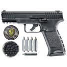 Pack Pistolet Umarex T4E TPM1 7.5J Cal .43 + Boite de 100 billes caoutchouc