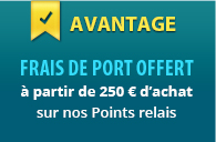 Free delivery in our pick-up points from 200€